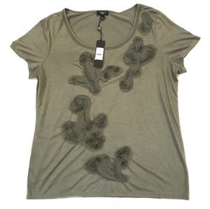 NWT TALBOTS Olive Green Rosette Short Sleeve Top